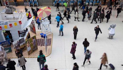 A pop-up beach was used to launch the campaign at London's busy Waterloo Station.