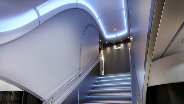The stairs to the upper deck on board the British Airways A380.