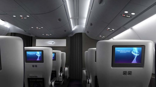 The 'World Traveller Plus' (premium economy) class on board the British Airways A380.