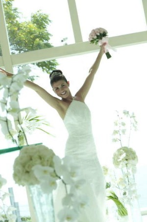 Picture perfect: A happy Bali bride.