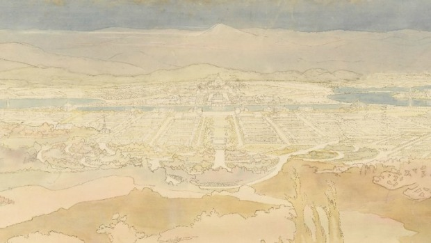 Competitor number 29 Walter Burley Griffin - Perspective View from summit of Mount Ainslie (not complete image)