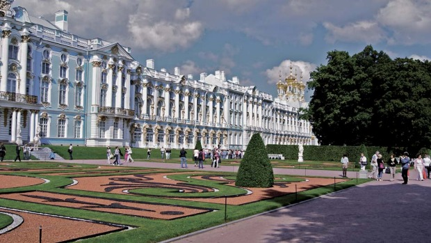 Fit for a tsar ... the Winter Palace in St Petersburg became the official residence of Russia's rulers from 1732. The Amber Room's journey from Berlin in 1716 took six arduous weeks, and the panels are believed to have been left unassembled in a palace wing for several years.