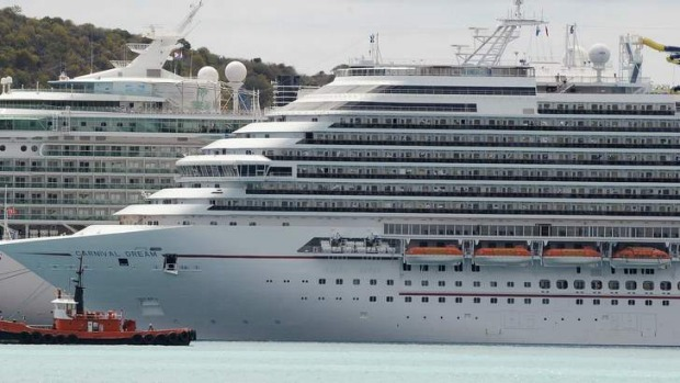 The Carnival Dream cruise ship moored at the A.C. Wathey Cruise Facilities after a diesel generator malfunctioned.