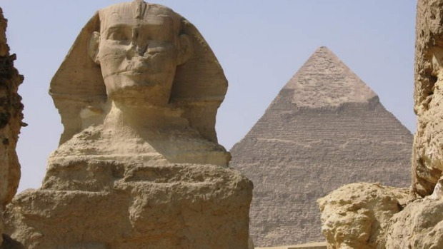 The Sphinx and pyramids of Egypt.