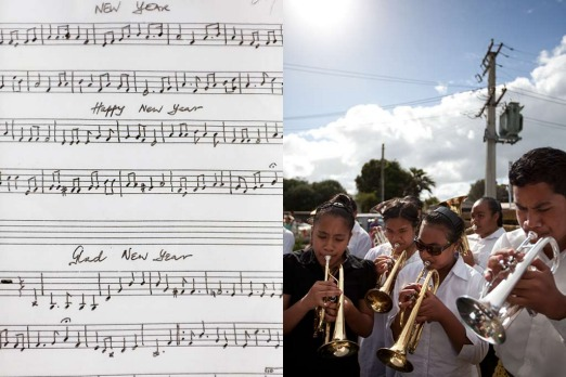 "Otara: <i>""We go around to all the Tongans in the area and play. It's a bit like people singing carols.""</i>"
