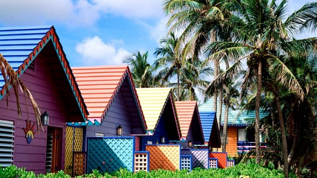 Coloured cottages at Compass Point Beach Club in Nassau.