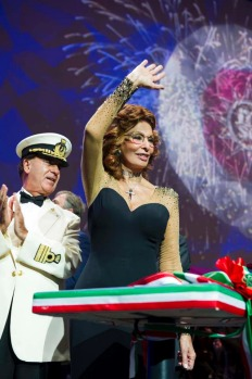 Sophia Loren, 'godmother' of the MSC fleet, at the christening of the MSC Preziosa on Saturday, March 23.
