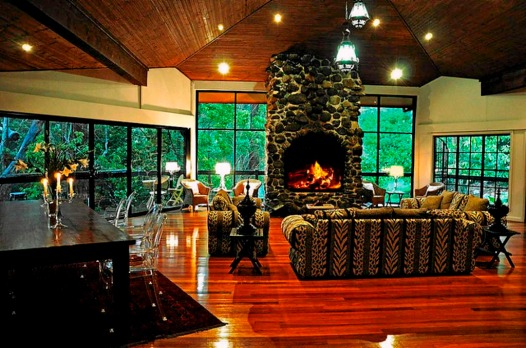 The common living area features a large fireplace.