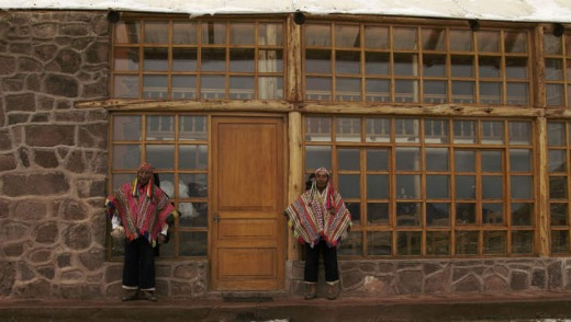 Entrance to an Andean lodge.