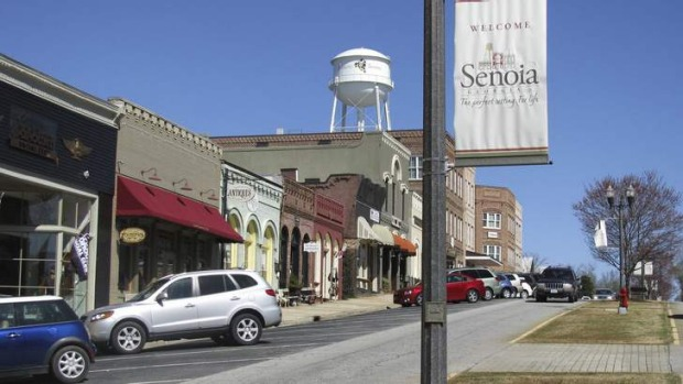 The main street used in the filming of the TV show The Walking Dead, in Senoia, Georgia.