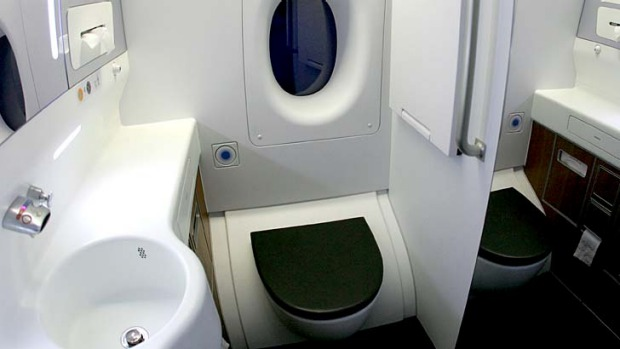 Tight squeeze ... a toilet on board a Qantas A380. A US manufacturer has come up with a new design that will shrink ...