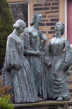 A statue of the Bronte sisters outside their home in West Yorkshire.
