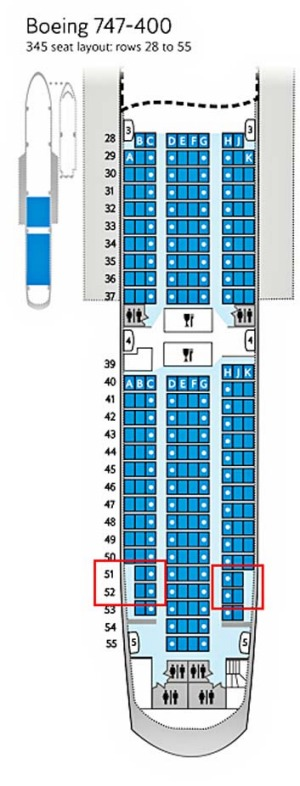 Popular spot ... British Airways has revealed that the side seats in rows 51 and 52 (highlighted) are the most popular ...