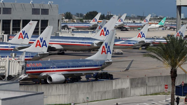Going nowhere: American Airlines grounded all its planes after a computer glitch.