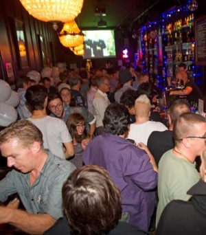NZ celebrates: Gay-rights supporters pack the S&M bar in Wellington.