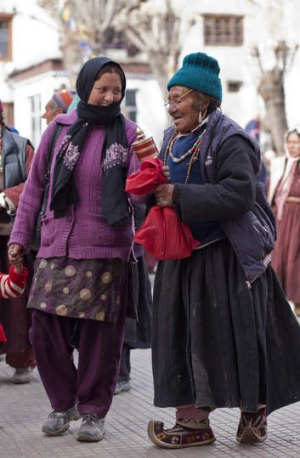 A mother and daughter at the Chowkhang monastery in central Leh.
