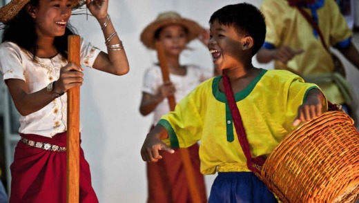 Reaching out: Youths at the Kampot Traditional Music School for Orphaned and Disabled Children put on a show.