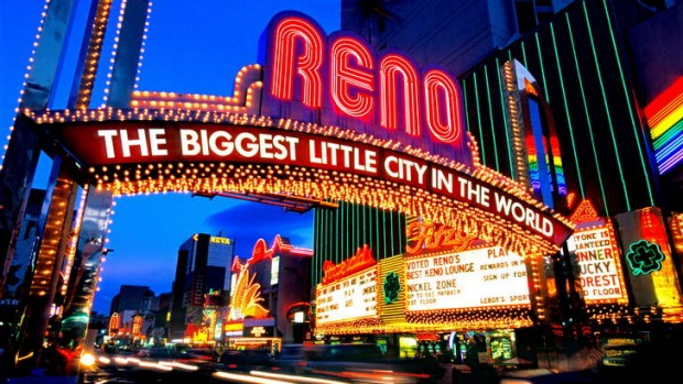 The Reno neon sign stretching across Virginia Street.