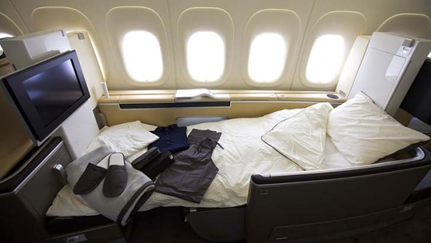 The holy grail ... a first class seat on board a Lufthansa 747 jumbo jet.