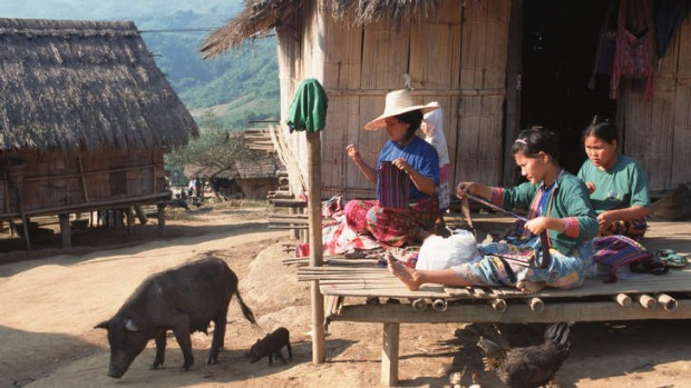 The simple life: Lahu women at work.