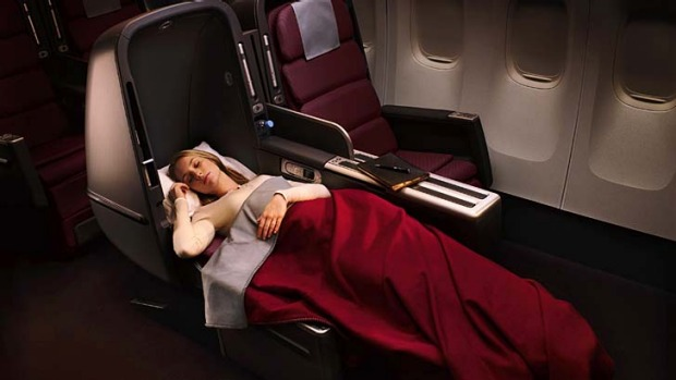 Seeking the full 180 degrees ... a lie-flat business class seat on a Qantas A380.