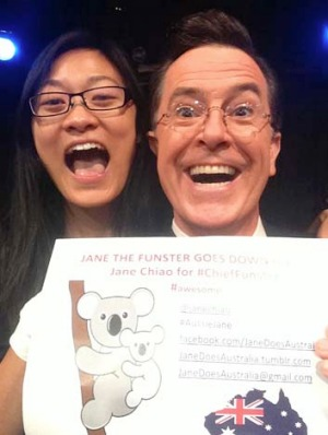 US comedy TV star Stephen Colbert endorses 'best jobs in the world' candidate Jane Chiao.