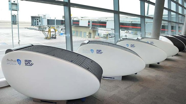 Abu Dhabi International Airport has installed 20 'sleeping pods' for passengers, with a futher 35 to be fitted later ...