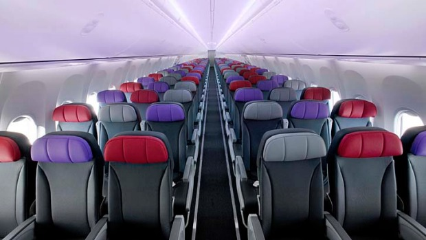 Economy class on a Virgin Australia 737-800. The Fiji flight is more like a domestic service than an international one.
