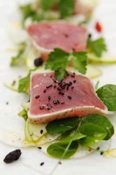 Entree - Yellow fin tuna, fennel and green apple salad, black sesame with black bean sauce.