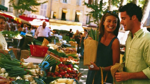 Buying fresh food in Provence.