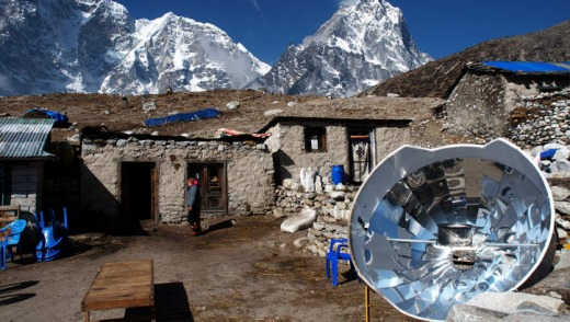 A parabolic heater in Nepal.