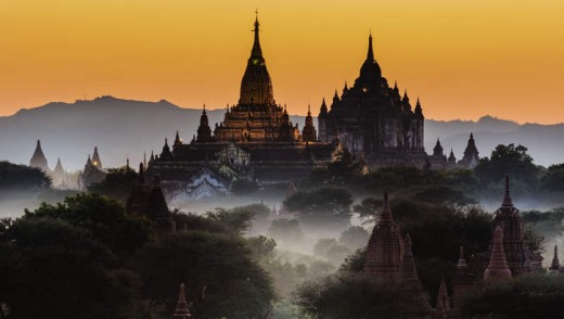 The ornate temples of Myanmar provide a stunning backdrop.