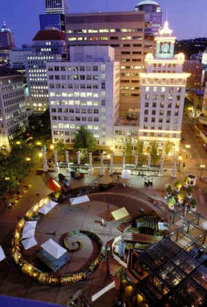 Quirky: Pioneer Courthouse Square.