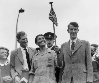3rd July 1953:  From left to right, Colonel John Hunt, Tenzing  Norgay (better known as Sherpa Tensing), and Edmund ...