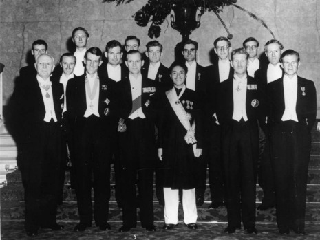Image dated 17th July 1953:  Members of the successful Everest expedition at a reception at Lancaster House, (from left) ...