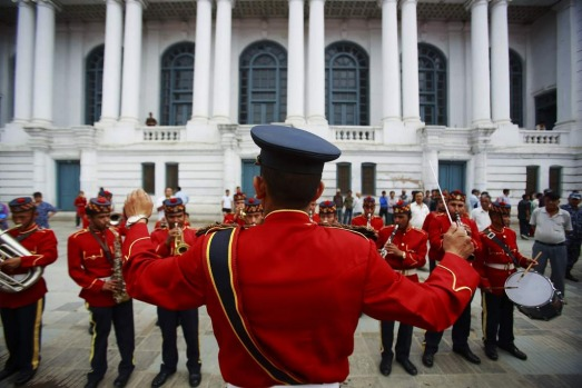 Members of the police brass band perform during an event marking the 60th anniversary of Sir Edmund Hillary and Tenzing ...