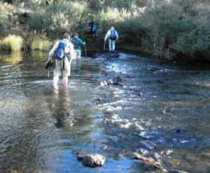 Wading across the Shoalhaven River en route to the Big Hole last weekend