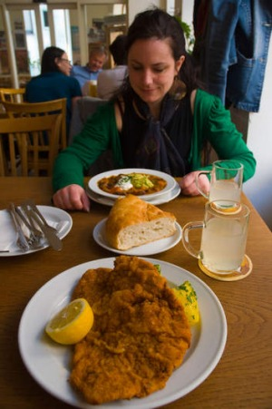 The schnitzel at Schone Perle.