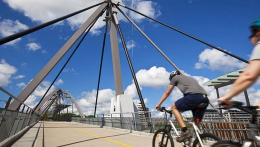 Cyclists on the Goodwill Bridge.