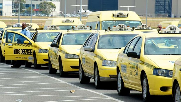 Taxis queue at Melbourne Airport.