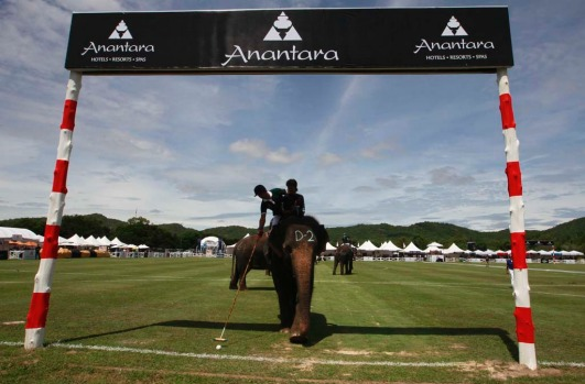 A player from the Audemars Piguet Team hits a ball into goal during the opening match of the 11th King's Cup Elephant ...