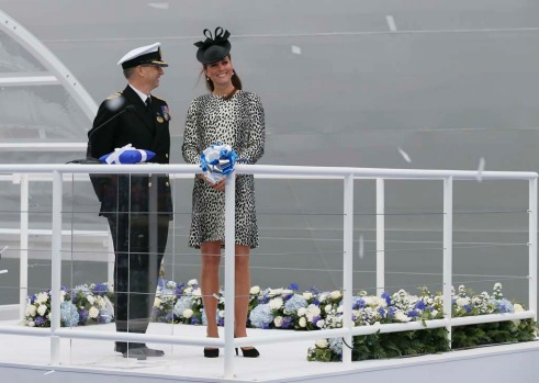 Britain's Catherine, Duchess of Cambridge (R) attends a naming ceremony for the 'Royal Princess' cruise ship in ...