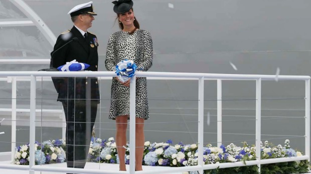 Britain's Catherine, Duchess of Cambridge (R) attends a naming ceremony for the 'Royal Princess' cruise ship in Southampton, southern England.