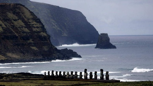 The Moai statues at Tongariki Bay on Easter Island.