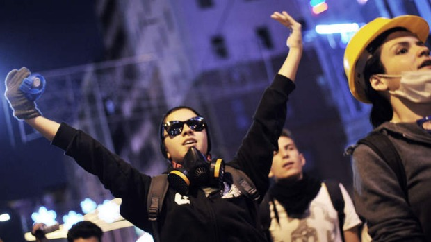 An anti-government demonstrator chants slogans on Istikal street in the centre of Istanbul.