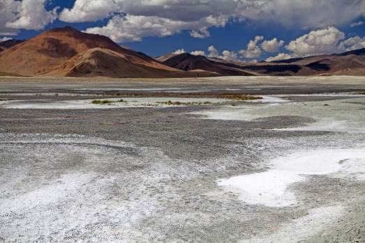 The high desert Tsokar Lake near the Manali-Leh highway, India.