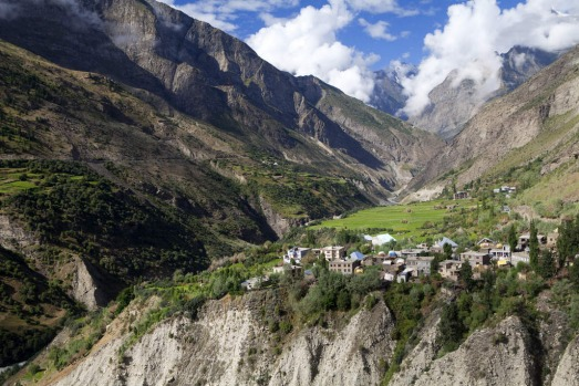 A village near Keylong, above the Chandra River on the Manali-Leh highway, India.