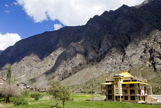 A Buddhist monastery at Jispar on the Manali-Leh highway, India.
