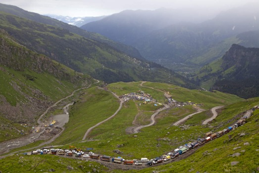 A traffic jam on the climb to Rohtang La, on the Manali-Leh highway, India.