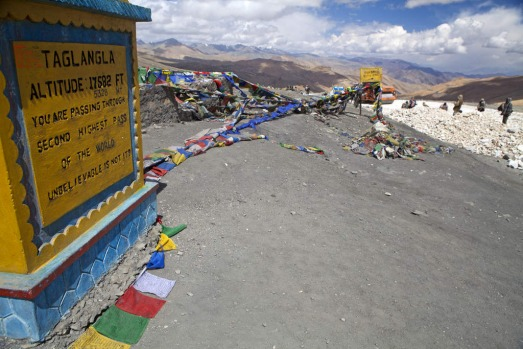 Road works at Taglang La, the highest pass on the Manali-Leh highway, India.